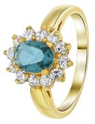 Vergoldeter Ring mit jeansblauem Zirkonia (1035395)