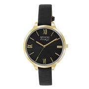 Nouveau Vintage horloge met zwarte leren band (1036809)