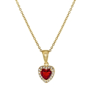 Goldplated ketting & hanger ruby hart zirkonia (1042131)