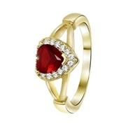 Vergoldeter Ring Herz Rubin mit Zirkonia (1042133)