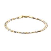 9 Karaat tricolor armband herringbone (1047172)