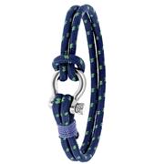 Stalen armband blauw/groen stof (1056688)