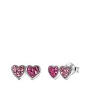 Kinderohrringe, 925 Silber, Herzen mit rosa Kristall (1056954)