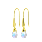 Zilveren oorbellen gold Swarovski Crystal AB (1057926)