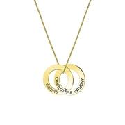 Zilveren ketting gold 2cirkels gravering (1058440)
