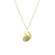 Zilveren ketting gold hart vingerafdruk&gravering (1058486)