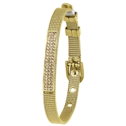 Stalen armband goldplated mesh riem met kristal (1058694)