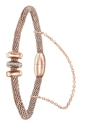 Stalen armband mesh roseplated met kristal (1058698)