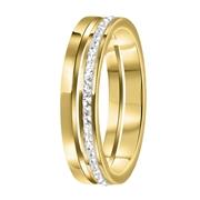 Stalen ring goldplated 2rij met kristal (1058712)