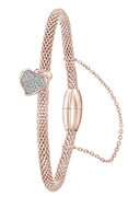 Stalen armband mesh roseplated hart met kristal (1058980)