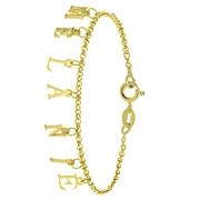 Zilveren naamarmband gold dangling letters (1059073)