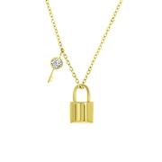 Stalen ketting&hanger gold slotje/sleutel zirkonia (1059554)