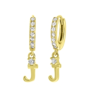 Ohrringe, 925 Silber, vergoldet, Buchstabe mit Zirkonia (1059579)