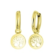 Ohrringe, Edelstahl, vergoldet, mit Anhänger, Lebensbaum (1059614)