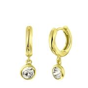 Zilveren oorringen gold Swarovski Crystal wit (1060115)