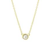 Halskette, 925 Silber, vergoldet, Swarovski-Perle (1060152)