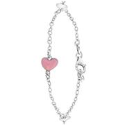Zilveren kinderarmband hart roze emaille (1060513)
