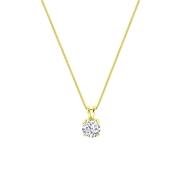 Halskette, 925 Silber, vergoldet, Swarovski, Zirkonia 8 mm (1060538)
