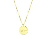 Goudkleurige bijoux ketting met muntje love (1060609)