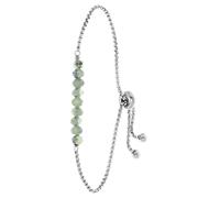 Stalen armband met lichtgroene kralen (1060742)