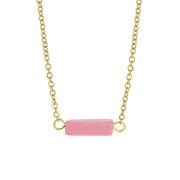 Pink Opal stalen goldplated ketting (1061561)