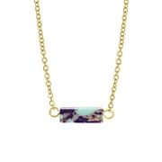 Purple Jasper Turquoise stalen goldplated ketting (1061591)