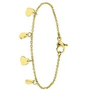 Stalen goldplated armband met hartjes (1061808)