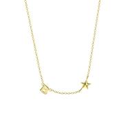 Zilveren goldplated ketting letter/stardust (1062126)
