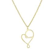 Stalen goldplated naamketting hart 1naam (1063936)