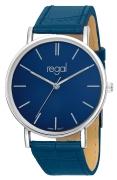 Regal-Uhr Slimline mit blauem Lederband R16280-13 (1013290)