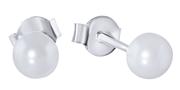 Silber-Ohrringe mit Perle 6 mm. (1025909)