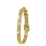 Stalen armband goldplated mesh riem met kristal (1043444)