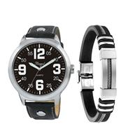 Stalen set armband rubber & regal horloge (1050035)