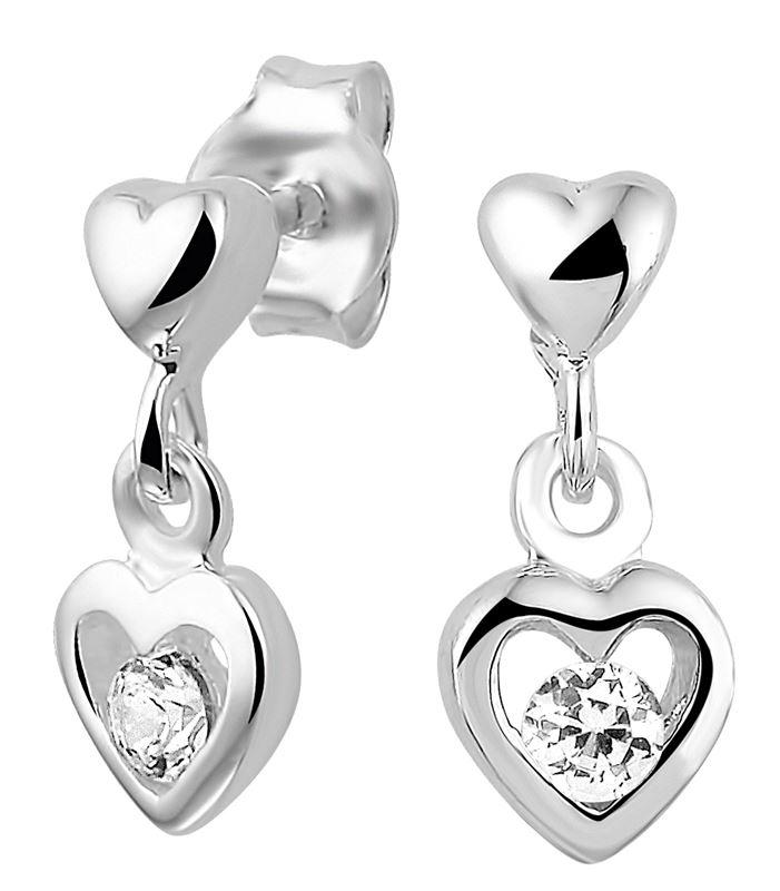 Silberne Kinderohrringe Herz mit Zirkonia__1020168__0