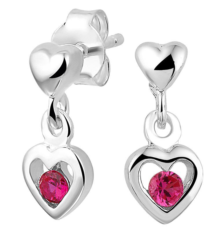 Silberne Kinderohrringe Herz mit Zirkonia__1020169__0
