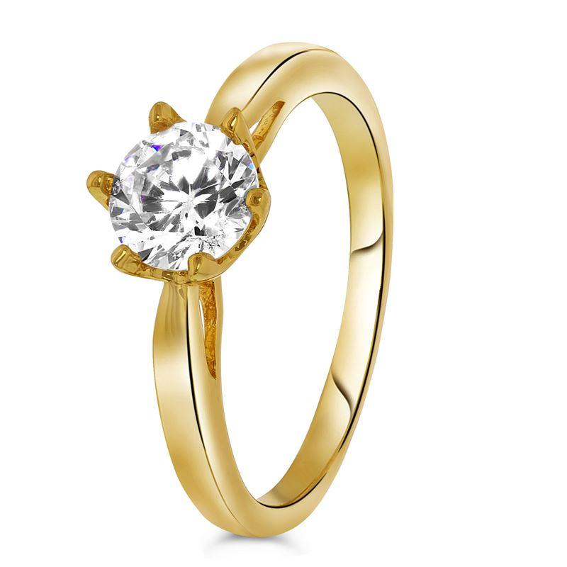 Goldplated ring solitair zirkonia__1033460__0