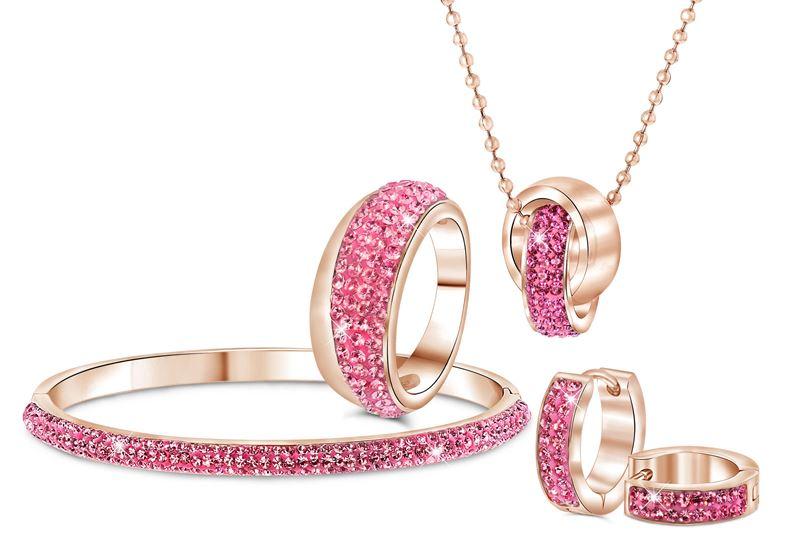 Stalen oorbellen roseplated roze kristal__1034075__1