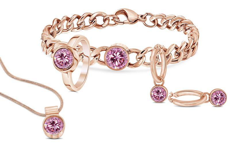 Stalen armband roseplated met roze zirkonia__1034017__1