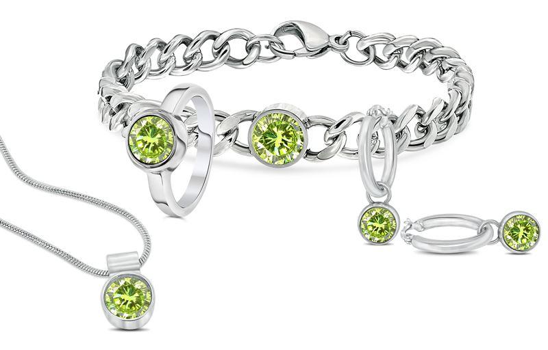 Stalen armband met groene zirkonia__1034022__1