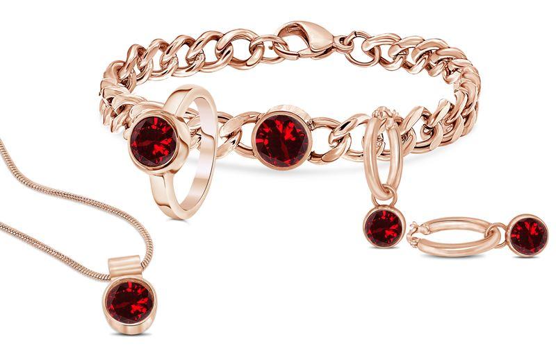 Stalen armband roseplated met ruby zirkonia__1034040__1