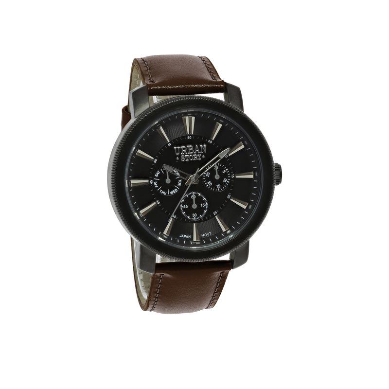 Urban Story Armbanduhr mit einem braunen Lederband__1044414__0