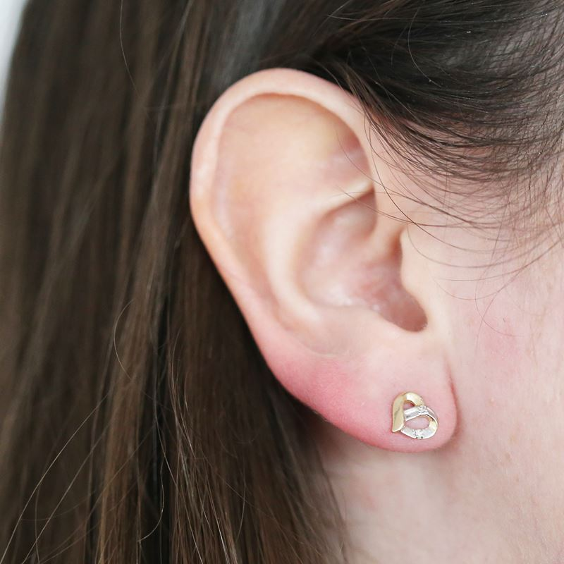 Gelbgoldene herzförmige Ohrringe mit Diamant__1000079__1