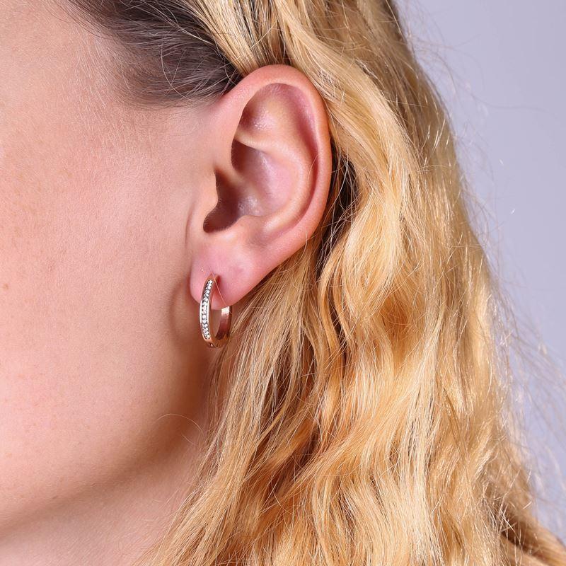 Ohrringe aus rotvergoldetem Stahl Kristall__1022153__1